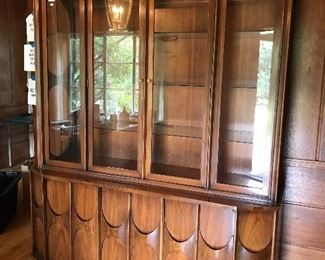 Mid Century Modern Walnut & Rosewood Breakfront/ China Cabinet. Designed by Kent Coffey
