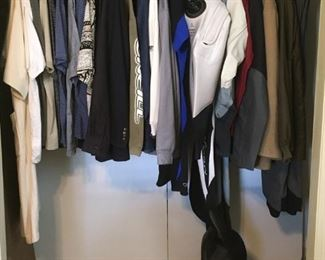 Various men's clothing and jackets including SeaQuest integrated BCD, top-tier Apollo drysuit, O'Neill shorty wetsuit, Helly Hansen foul-weather/cold-weather paddling/kayak jacket and pants, Patagonia ski jacket, Columbia ski pants, etc.