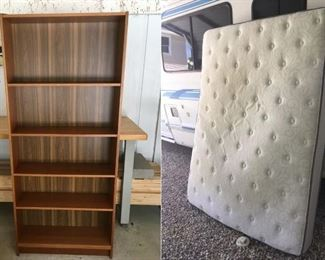 Ikea bookcase (free) // Queen-size Serta Century Collection Midland mattress (free) // Both are in decent condition.