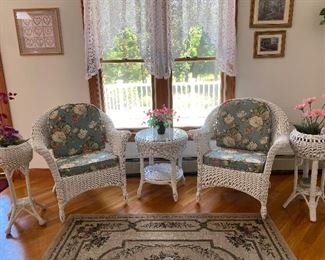 5 piece wicker set Chairs have cushions 150.00 Text to buy