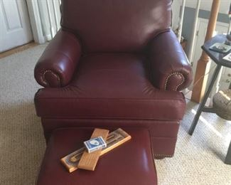 Matching leather chair and ottoman