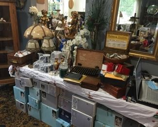 Antique Seed Boxes, Lamps, etc