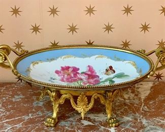 "Item 375:  19th c. hand painted Limoges tazza set in an ornate brass base with lion paws - 18.5"" x 7"":  $1400"