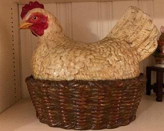 Vintage Ceramic Chicken in a Basket