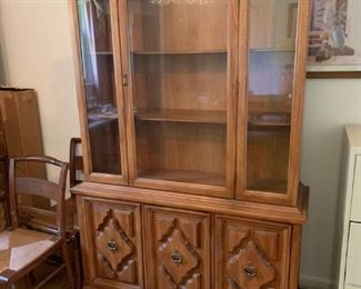 #6China cabinet with 3 glass doors and 3 wood doors  one piece 47x16x72 $100.00