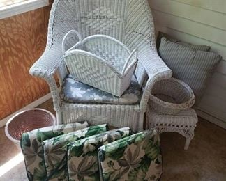 Wicker Rocking Chair, Ottoman, Magazine Rack, Outdoor Cushions and Pillows