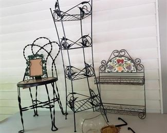 Twisted Metal Chair, Metal Plant Stand and Outdoor Patio Items
