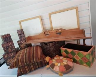Quilt Rack, TV Trays, Painted Wood Planter, Nesting Boxes and Pillows