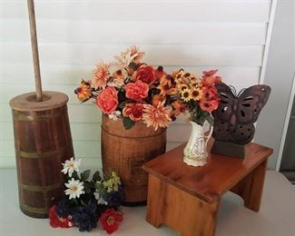 Wooden Nail Keg, Churn, Stool and Flowers