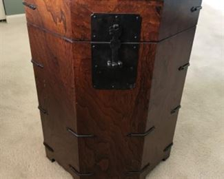 1950s Asian Dark Wood Octagonal Chest/End Table 18d x 23h A masculine octagonal oak end table chest that opens to reveal storage inside and is decorated with black iron around the periphery and latch. BUY IT NOW $150