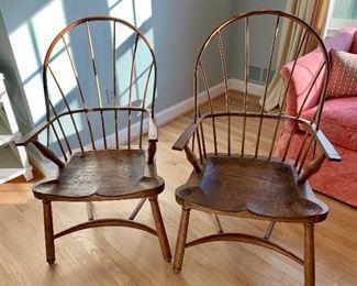 """$595 Pair Peter Kramer windsor chairs: 24"""" W, 24"""" D, 41"""" H."""