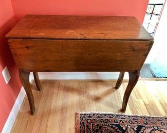 "FIRM PRICE - $520  Antique Primitive Handmade Dough Box Table: 37"" W, 17.25"" D, 32"" H."
