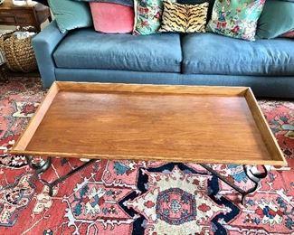 """$295 Drexel  metal/wood coffee table 56"""" W, 28"""" D, 19"""" H."""