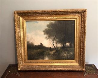 $595 Framed oil on canvas AS IS chipped frame