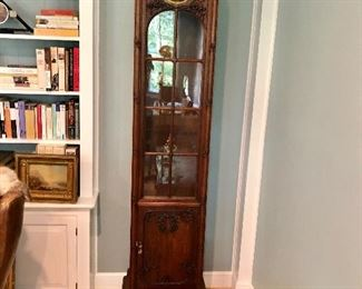 """$495 Art Nouveau Carved Mahogany tall  case clock 20"""" W, 12.5"""" D, 80.5"""" H. - AS IS BOTTOM WILL NOT OPEN!"""