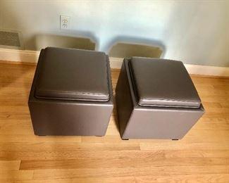 "$160 pair storage boxes - Top 18"" x 18"", 17"" H."