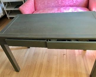 """$95 2 drawer table 47"""" W, 23.5"""" D, 29.5"""" H."""