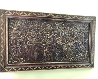 """$495 Balinese hand carved wall picture 34"""" W x 19.25"""" H."""