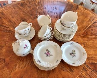 $ 120 plates, $120 tea cups and saucers, $40  Sugar bowl Royal Copenhagen  Frisjenborg china set one sugar bowl,  8 plates, 12 coffee or tea cups and saucers