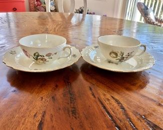 $120 Royal Copenhagen cups and saucers  total 12 two different designs