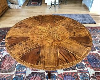 "$1,600 Random Harvest inlay, pedestal table 48"" diam, 30"" H.  Rug not for sale."