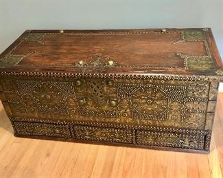 """$650 Indian brass/carved trunk 50"""" W, 22"""" D, 21.5"""" H."""
