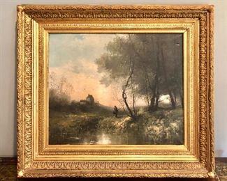 """$595  Pierre Desire Eugene Franc Lamy  (French 1855-1919) Barbizon Landscape oil on canvas 35"""" W x 31.5"""" H."""