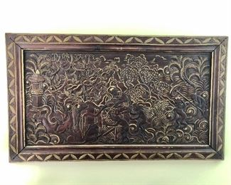 Detail Balinese wood hand carved picture