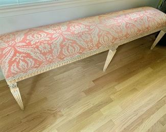 """$595  Single boudoir bench with custom fabric 72.5 """"L  by 21""""H by 16.5""""deep"""