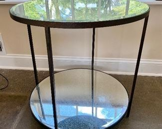 """$250 Kellogg Collection beveled, cracked mirror two-tiered side table - 24"""" diam, 24.5"""" H."""