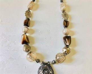 """$60 Large beaded necklace  23"""" long , 2.5 L  inches pendant 25.5 inches long"""