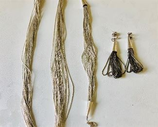 """$95 Liquid silver set, Necklace $50 bracelet $25, Earrings $20  Necklace 18"""" L , Bracelet 7 and 3/4 inches L and earrings are 2.5 inches long"""