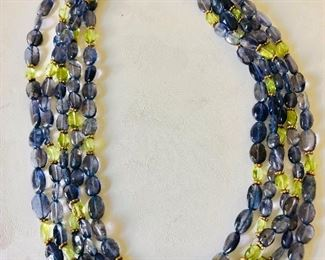 """$65 Multi strand stone necklace with gold tone clasp  16 inches long  16"""" Long"""
