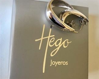 $25 Hego silver tone hoops in original box  1 and 1/4 inches long