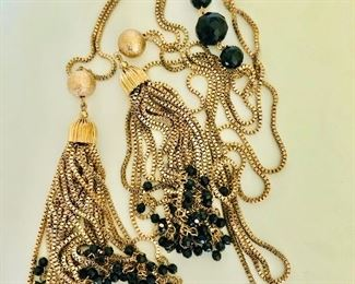 $45 Tassle necklace gold tone with black beads