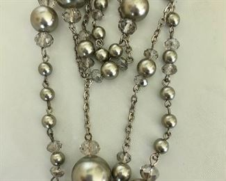 $25 Detail Extra long silver tone necklace 50  inches long