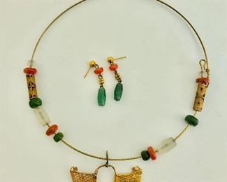 $60 Multi stone necklace and earrings set  Earrings without backs 1.5 inches long