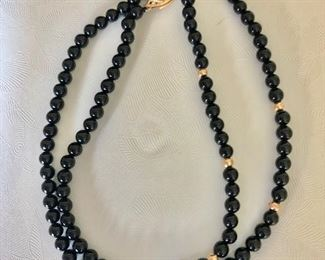 $70 Onyx beaded necklace with clasp  17.5 inches long