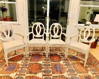 $700  4 Restoration Hardware chairs  - Rug not for sale