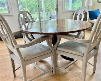 Random Harvest table and 4 Restauration Hardware Chairs