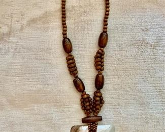 $20 Mother of Pearl pendant on wooden beads necklace