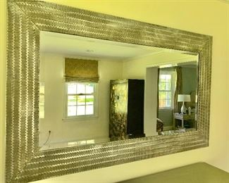 """$ 250  Hammered metal silver tone mirror: 58"""" x 36.25"""""""