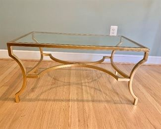 """$180 Contemporary glass top coffee table ; 35""""x20"""""""