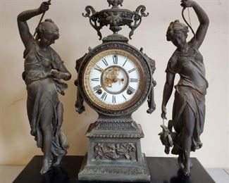 Antique Ansonia Figural FigurMuses Double Statue Bronze Finish Iron Mantel Clock