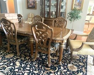 AICO by Michael Amini dining table with 8 chairs (6 side chairs & upholstered armchairs) * All pieces are being priced individually