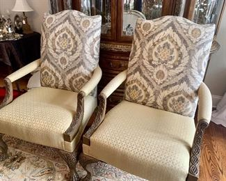 Two upholstered armchairs, priced separately from the other pieces