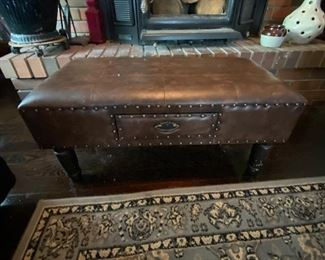 Cool footstool with storage drawer!