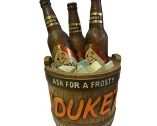 Lot 001 1960's Ask for A Frosty Duke Duquesne Barrel Beer sign / display