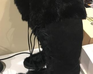 COACH KARITA TALL FUR TRIMMED SUEDE BOOTS - SIZE 8B - BUY IT NOW $200