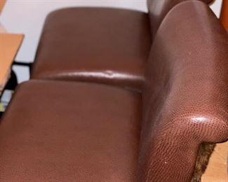 2) Brueton Brown Leather & Faux Fur Bar Height Stools, Chrome Flat Round Base.  Price $500.each